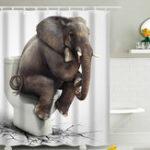 New 180x180CM Elephant Waterproof Bathroom Shower Curtain 12 Hooks