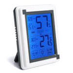New Loskii Digital Hygrometer Indoor Thermometer Humidity Monitor LCD Touch Screen Backlight Clock