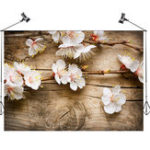 New 5x3FT White Flowers Wooden Wall Photography Backdrop Studio Prop Background