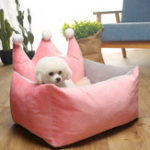 New 3 Colors Luxury Crown Crystal Velvet Pet Bed Kennel Dog Cat Warm Sofa Pet Bed