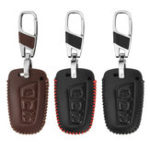 New 3 Button Car Leather Remote Key Case Cover Shell For Hyundai Santa Fe 2013 2015