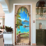 New 3D Sea Balcony Arch Door Wall Sticker Self-adhesive Mural Photo Wall Decal