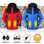 New Unisex Electric Heatable Heating Jacket Winter Hooded Motorcycle Outdoor Camping Thermal Riding Coat