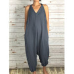 New Women Sleeveless Strap V Neck Casual Loose Overalls