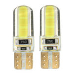 New T10 W5W COB LED Car Side Wedge Marker Lights Canbus Error Free License Bulb Soft Gel 2W White 2Pcs