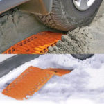 New Rubber Car Snow Tires Grip Tracks Foldable Skid Plate Chain Universal Orange