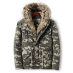 New Mens Camo Printing Thick Faux Fur Collar Winter Jacket Coat