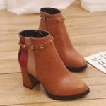 New Stitching Rivet Chunky Heel Ankle Boots