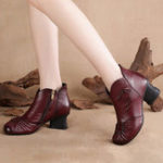 New LOSTISY Retro Genuine Leather Keep Warm Casual Ankle Boots