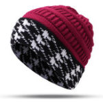 New Women Warm Houndstooth Knitted Hat Casual Fashion Beanie Cap