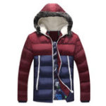 New Mens Cotton Down Padded Winter Windproof Contrast Color Coat