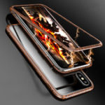 New Luphie Wood Pattern Magnetic Adsorption Metal Tempered Glass Protective Case For iPhone X