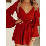 New Women Flare Sleeve V-neck Casual Mini Dress with Belt