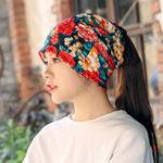 New Women Warm Flower Print Dual Use Beanie Scarf Ponytail Cap