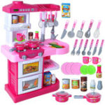 New Kids Pretend Role Play Sound Light 28Pcs Kitchen Tools Seasoning Set Funny Developmental Toys