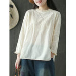 New Women Cotton Solid Color Stand Collar Embroidered Blouse