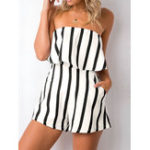 New Women Casual Stripe Off-shoulder Jumpsuit with Pockets