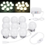 New 10PCS Hollywood Style Dimmer LED Vanity Mirror Makeup Dressing Table Light Kit EU Plug