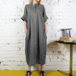 New Stand Collar Button Long Shirt Solid Color Maxi Dress