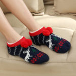 New Women Winter Christmas Ankle Socks Non-Slip Floor Socks