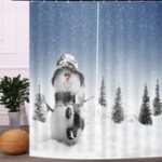 New 2PCS 3D Shower Curtain Print Window Curtain Door Screen Panel for Christmas Decoration