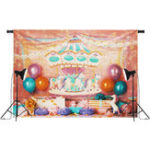 New 7x5FT Unicorn Birthday Pink Carousel Ribbon Photography Backdrop Studio Prop Background