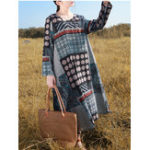 New Plus Size Vintage Printed Long Sleeve Loose Cotton Dress