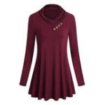 New Women Pure Color Stand Collar Long Sleeve Blouse