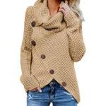 New Women Solid Color Turtleneck Irregular Hem Button Sweaters