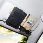 New PU Leather Car Sun Visor Glasses Clip Card Pen Holder Storage Driver License Package