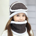 New Women Thick Fleece Liner Multipurpose Knitted Hat Scarf