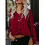 New Plus Size Casual V-neck Button Front Puff Sleeve Blouse