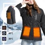 New Women Electronic USB Heated Jacket Black/Red/Pink/Khaki Intelligent Heating Hooded Work Motorcycle Skiing Riding Coat