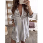 New Plus Size Long Sleeve V Neck Stripe Tops Shirt Mini Dress