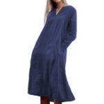 New Women Long Sleeve V-neck Solid Swing Pocket Dress