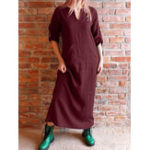 New Retro Women Cotton Loose Solid V-Neck Front Pockets Dress