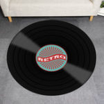 New Vinyl Records Innovative Carpet Round Mat Europe Fashion Retro Black Carpet Record Pattern Rug For Living Room Bedroom Floor Mat
