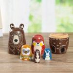 New 5 Nesting Dolls Wooden Aniimal Bear Russian Doll Matryoshka Toy Decor Kid Gift