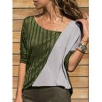 New Women Casual Patchwork V-neck Long Sleeve T-shirt Blouse