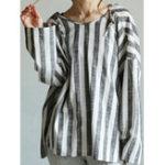 New Women Long Sleeve Stripe Hooded Loose Casual Blouse