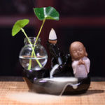 New Ceramic Backflow Incense Burner Buddhist Cone Holder with Glass Hydroponic Pot Creative Gifts