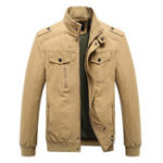 New Mens Plus Size Military Epaulets Cotton Cargo Jacket
