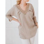 New Women Long Sleeve Patchwork Cotton Blouse