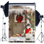 New 5x7FT Christmas Snowman Wooden Door Wreath Photography Backdrop Studio Prop Background