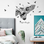 New Owl Silhouette Wall Sticker Creative Living Room Video Wall Decal Bedroom Cartoon Decoration Black Jungle Bird Office Glass Sticker