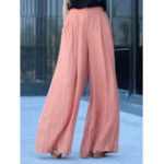 New Women High Waist Solid Color Chiffon Wide Leg Pants