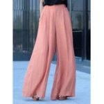 New Women High Waist Solid Color Chiffon Wide Leg Pants