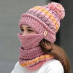 New Women Winter Warm Thicken Plus Velvet Knit Hat Scarf Set