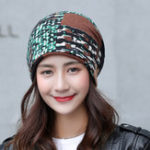 New Women Winter Warm Rabbit Fur Hat Headscarf Printing Knit Cap