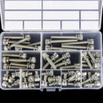 New 50Pcs M6 Hex Socket Knurled Cap Head Screw 304 Stainless Steel Bolt Assortment Set